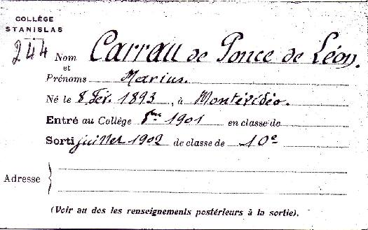 Attendance card of MARIO J. CARRAU at Collège Stanislas.
